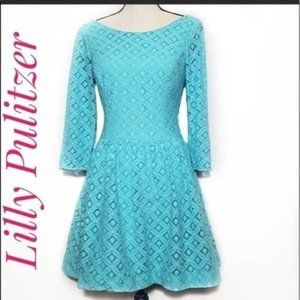 Lilly Pulitzer Lori XO Lace Dress in Shorely Blue